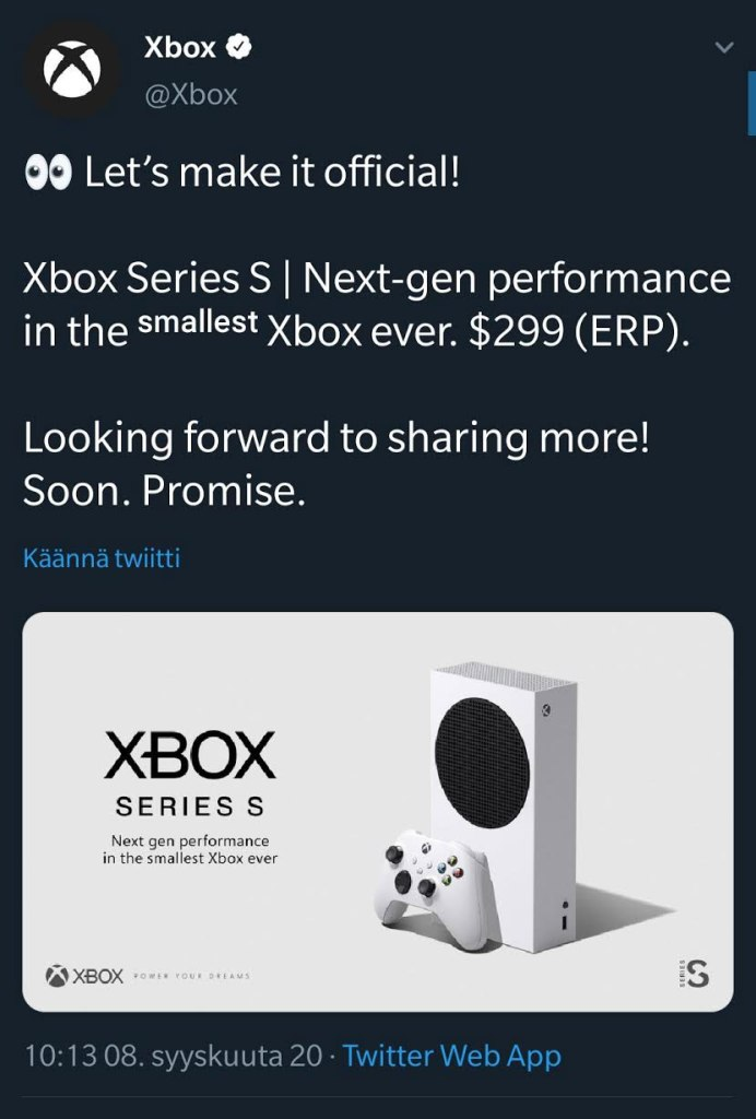 Microsoft Xbox Twitter account confirming Xbox Series S at 299 dollars.