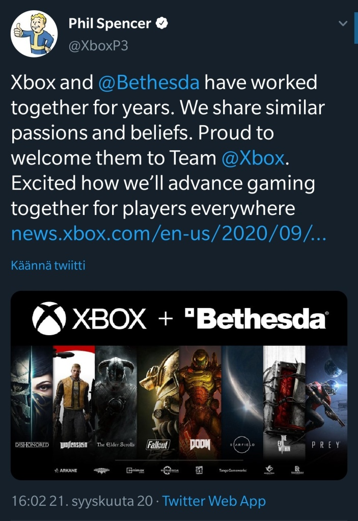 Xbox Boss Phil Spencer tweets about acquiring Bethesda