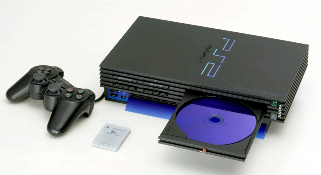 Sony PlayStation 2 with DualShock 2 controller and PlayStation Memory Card