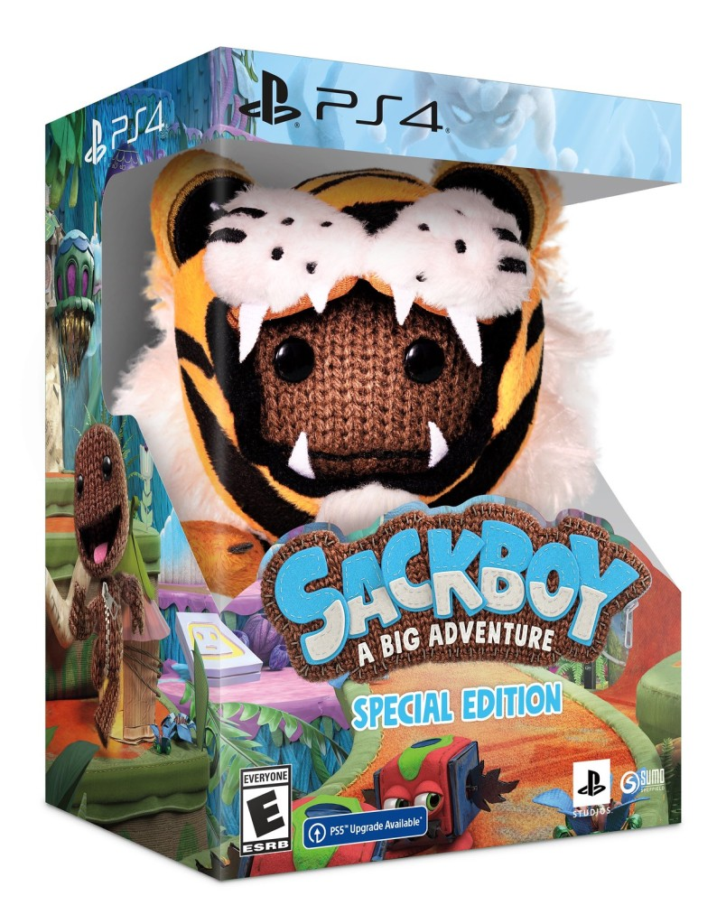 Sackboy: A Big Adventure Special Edition photo of the packaging including the blush toy.