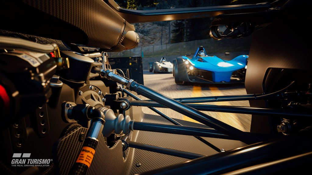 Screenshot of the GT7 and suspension system in close up image of unknown car.
