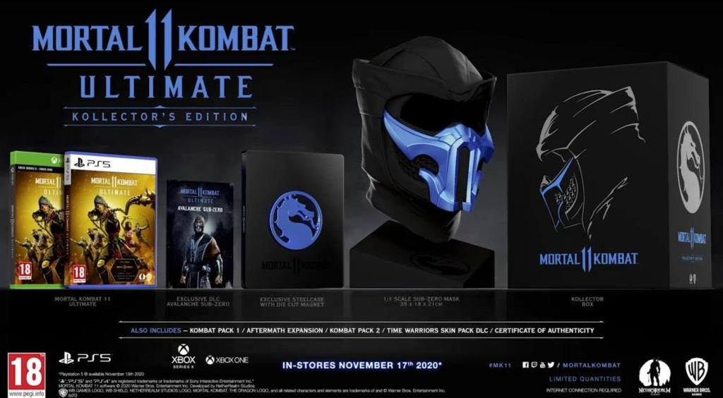 Mortal Kombat 11 Ultimate Kollector's Edition showing its contents.