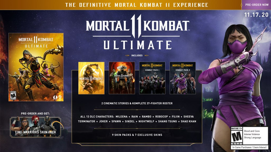 Mortal Kombat 11 Ultimate Edition and its contents.