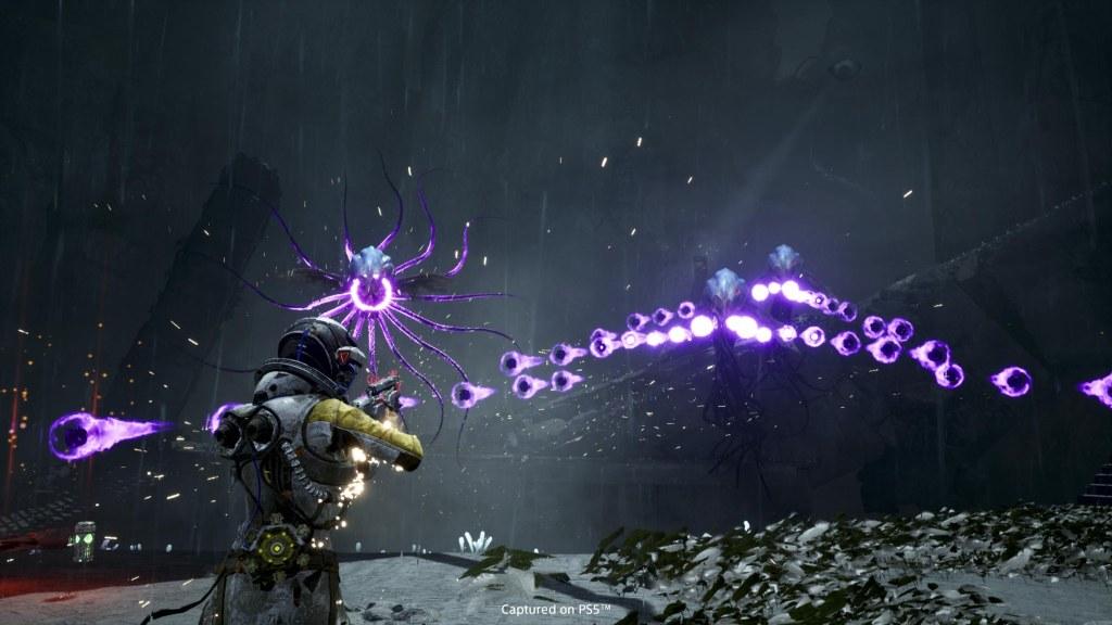 Screenshot of Returnal shooting action!
