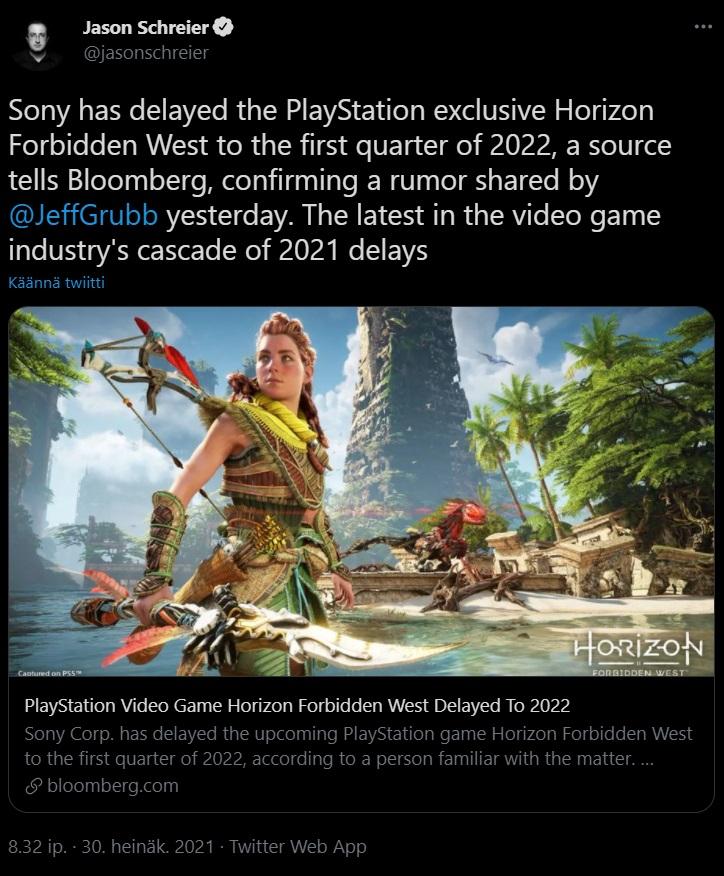 Image of Jason Schreier's tweet about Horizon Forbidden West delay.